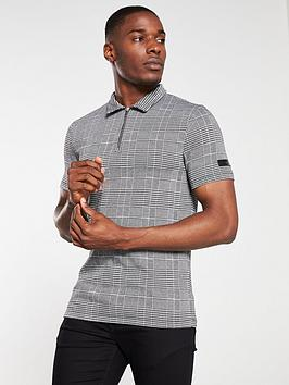river-island-grey-check-print-zip-neck-polo-shirt