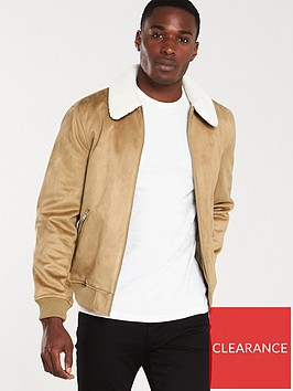 river-island-beige-faux-suede-borg-collar-jacket