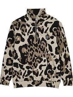 sometime-soon-boys-magnet-half-zip-leopard-hoodie-brown