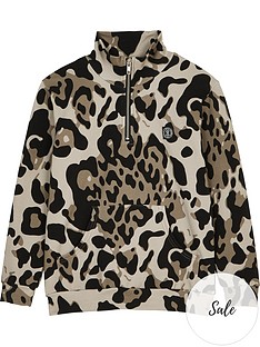 sometime-soon-boys-magnet-half-zip-leopard-hoodie-brown