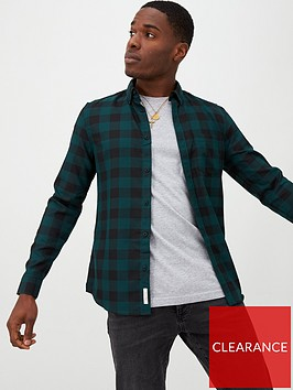 river-island-dark-green-check-slim-fit-long-sleeve-shirt