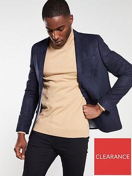 river-island-navy-suede-skinny-fit-blazer