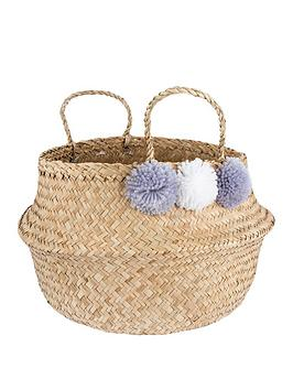sass-belle-grey-pom-pom-storage-basket