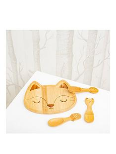 sass-belle-woodland-fox-bamboo-plate-and-set-of-3-spoons