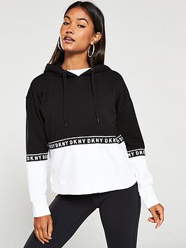 dkny-sport-boxy-long-sleeve-hoodie-with-taping-blackwhitenbsp