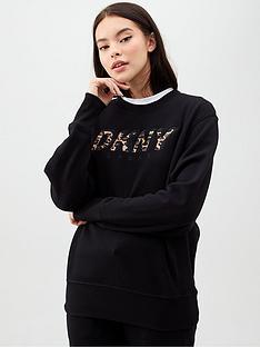 dkny-sport-longsleeve-pullover-wleopard-logo-applique-black