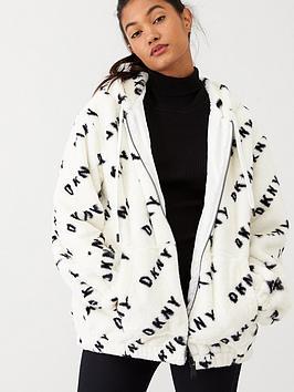 dkny-sport-logo-printed-sherpa-fleece-white
