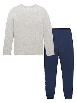 tommy-hilfiger-boys-logo-pyjama-set-greynavy