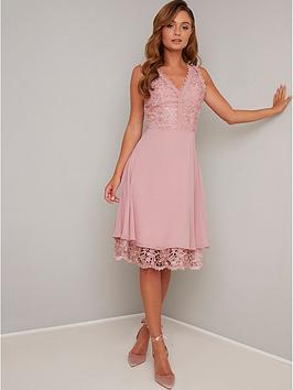chi-chi-london-lauria-lace-v-neck-top-midi-dress-mink