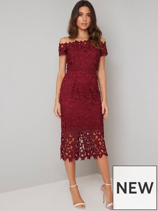ca1304e722f Anna Lace Bardot Midi Dress - Burgundy