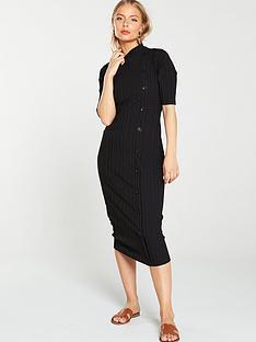 v-by-very-button-through-ribbed-dress-black