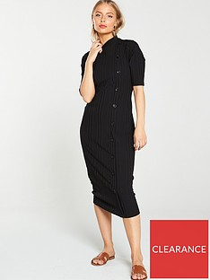 v-by-very-button-through-ribbed-dress-black