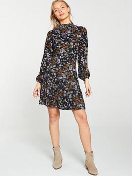v-by-very-ditsy-floral-high-neck-dress-black