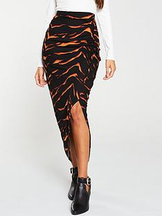 v-by-very-animal-ruched-midi-skirt-multi