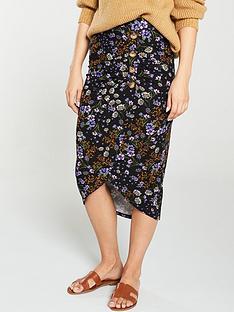 v-by-very-ditsy-floral-button-midi-skirt-black