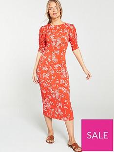 v-by-very-ditsy-tie-back-midi-dress-red