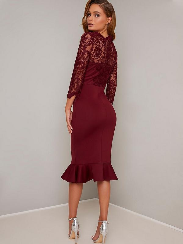 molti alla moda vendita a basso prezzo grande sconto per Chi Chi London Harlia Dress - Burgundy | very.co.uk