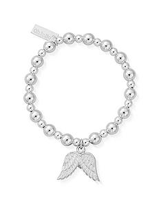 chlobo-childrens-sterling-silver-mini-small-ball-double-angel-wing-bracelet-silver