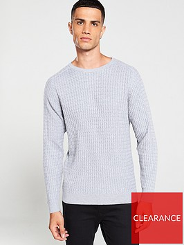 selected-homme-carlos-cable-crew-neck-jumper-grey
