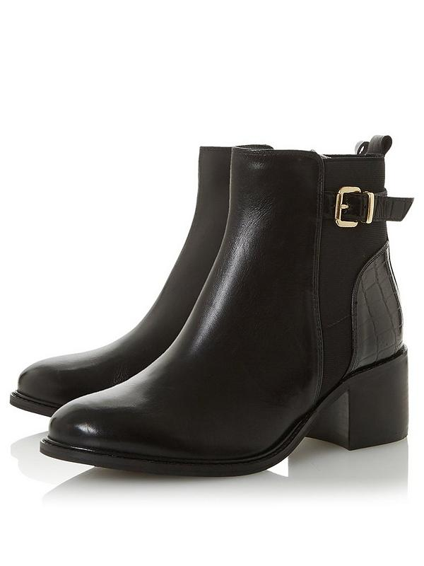 100% high quality dirt cheap united states Dune London Poetic Wide Fit Buckle Heeled Boots - Black | very.co.uk