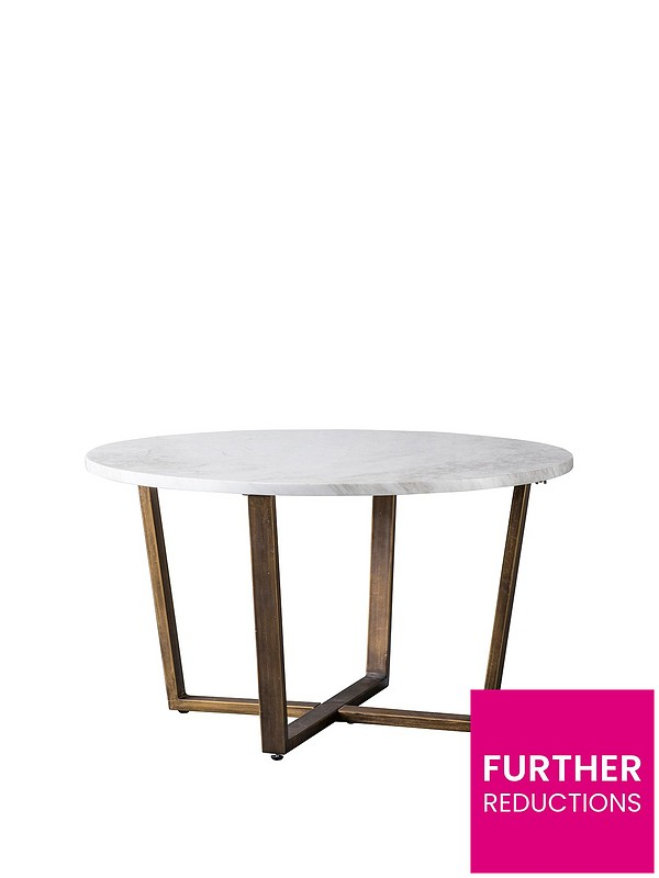 Cleo Round Marble Coffee Table White