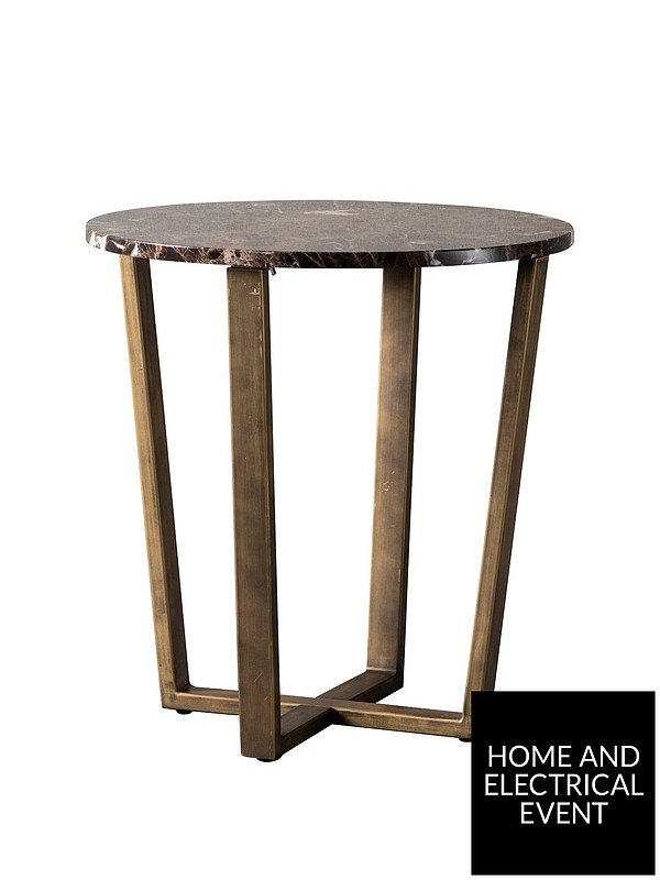 Hudson Living Emperor Marble Round Side Table Brown Very Co Uk