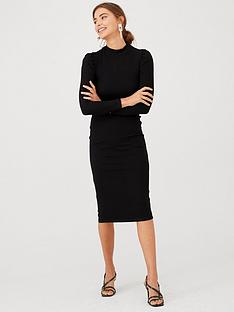 v-by-very-puff-sleeve-ribbed-dress-black