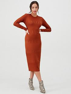 v-by-very-textured-bodycon-midi-dress-rust