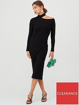 v-by-very-cut-out-neck-ribbed-dress-black