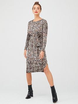 v-by-very-animal-print-belted-dress-multi