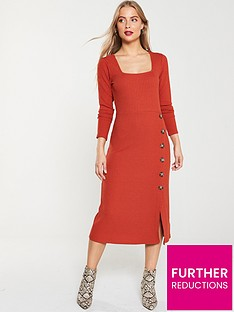 v-by-very-ribbed-button-front-midi-dress-rust