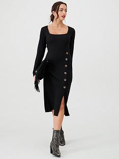 v-by-very-ribbed-mock-horn-jersey-dress-black