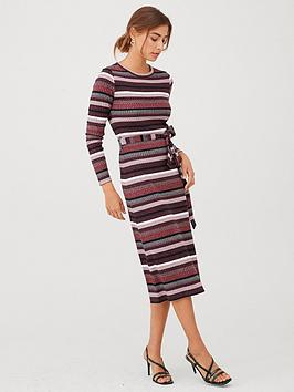 v-by-very-ribbed-striped-midi-dress-multi
