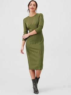 v-by-very-textured-bodycon-midi-dress-khaki