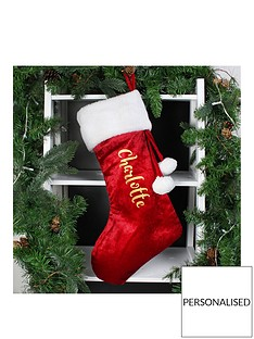 personalised-red-plush-christmas-stocking-with-metallic-gold-name