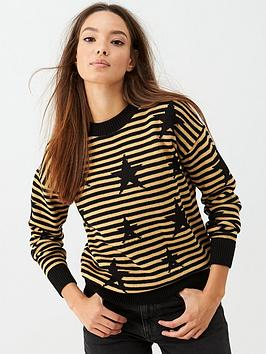 v-by-very-stripe-star-knitted-jumper-black-gold