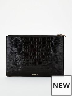 whistles-shiny-croc-leather-medium-clutch-bag-black