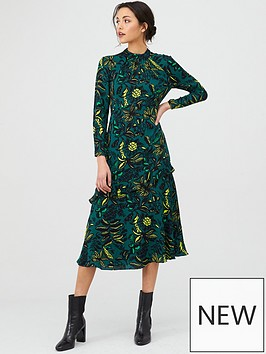 whistles-assorted-leaves-dress-greenmulti