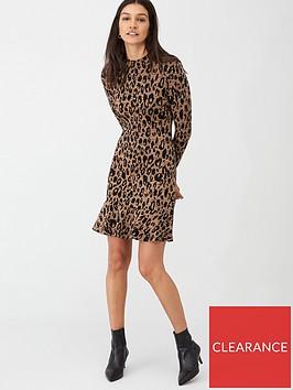 whistles-animal-print-flippy-dress-brownmulti