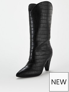 v-by-very-cone-heel-western-calf-boots-black