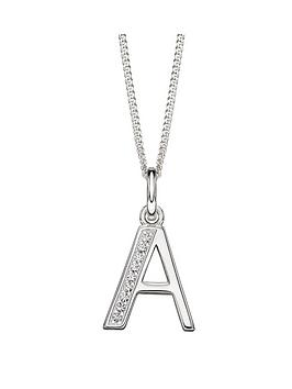 the-love-silver-collection-cubic-zirconia-initial-pendant-necklace