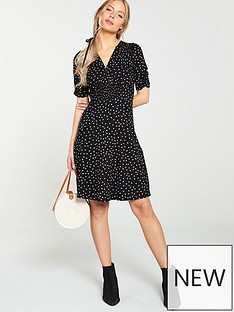 v-by-very-shirred-detail-dress-black