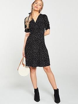 v-by-very-shirred-detail-dress-black