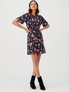 v-by-very-knot-waist-jersey-mini-dress-black-floral