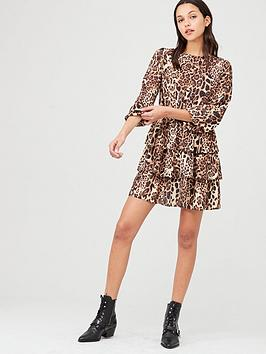 v-by-very-printed-tiered-skater-dress-leopard