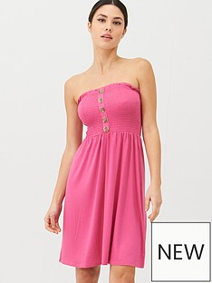 v-by-very-button-detail-shirred-mini-dress-pink