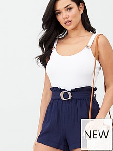 v-by-very-belted-linen-mix-short-navy