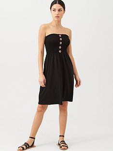 v-by-very-button-detail-shirred-mini-beach-dress-black