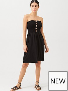 v-by-very-button-detail-shirred-mini-dress-black