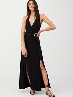 v-by-very-halter-neck-horn-ring-maxi-dress-black